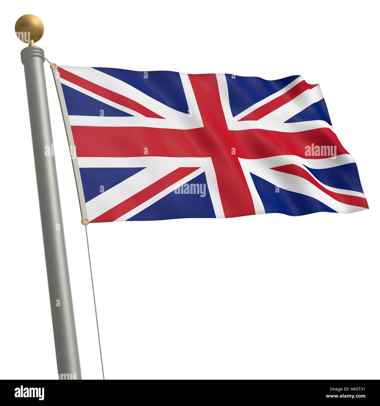 flag, kingdom, unites, britain, isolated, optional, europe, flag, blow, mast, - Stock Image