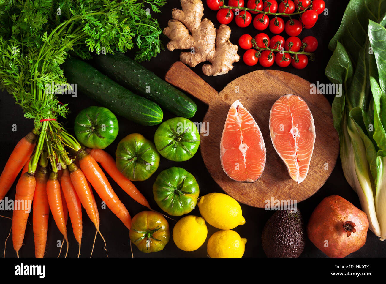 vegetables and fish healthy food background Stock Photo