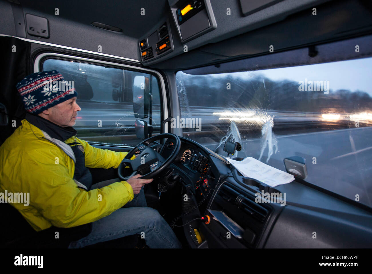 Professional driver on tour - Stock Image