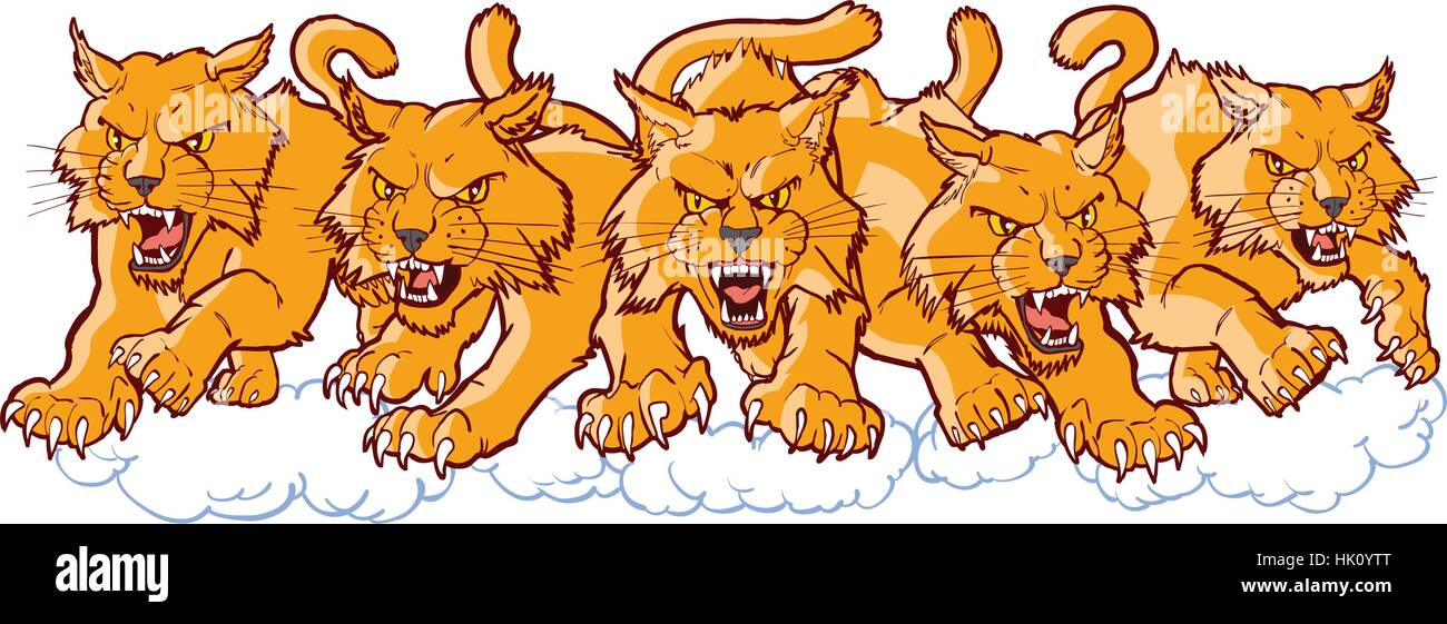 Vector cartoon clip art illustration of a group of tough mean wildcat or bobcat mascots charging or running forward. - Stock Image