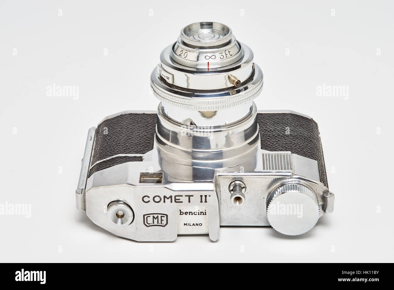 The Comet II was produced circa 1951 in Milano, Italy. It has a cast aluminum body with telescoping front lens. - Stock Image