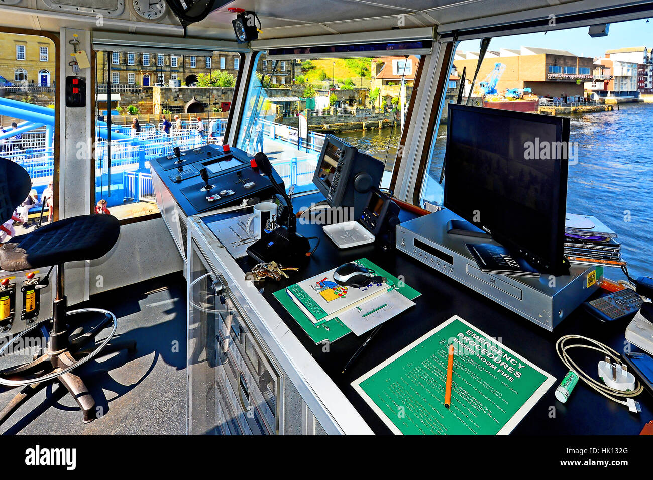 North South Shields Tyne ferry bridge and control room - Stock Image