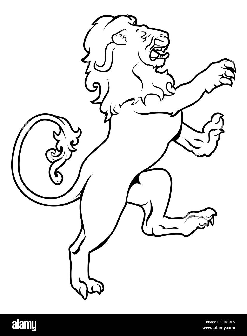 Illustration of a heraldic lion on its hind legs, like those found on a crest emblem or coat of arms on a shield - Stock Image