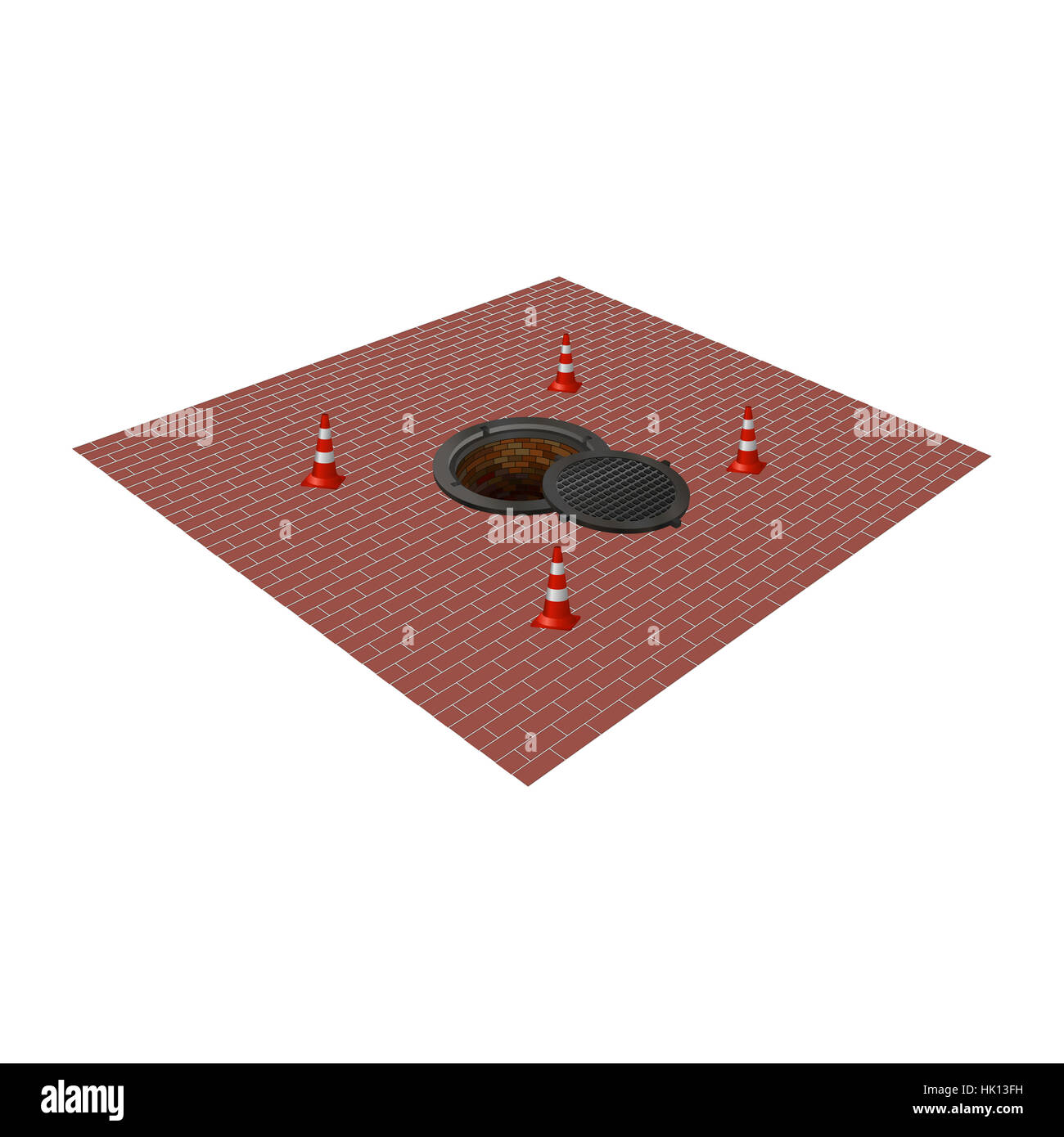 open hatch with four cones. Photo illustration. Stock Photo