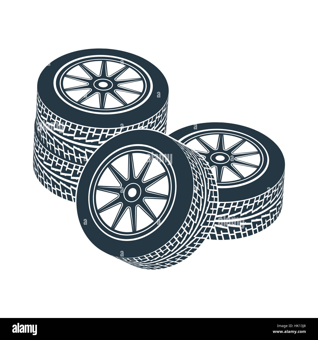 Wheels for cars with a tread pattern. Photo illustration. - Stock Image