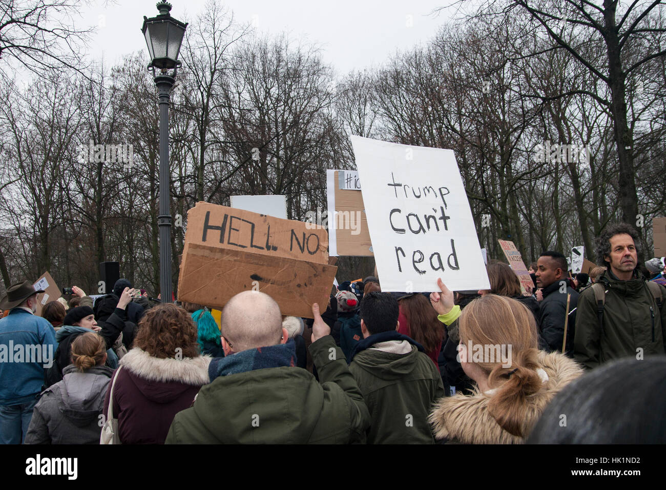 Berlin, Germany. 4th February, 2017. Protest against Donald Trump in Berlin, Germany. Credit: Michael Koenig/Alamy - Stock Image