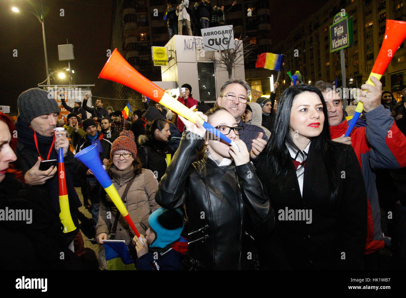 Bucharest, Romania. 4th Feb, 2017. Over 170 thousand people rallied against the proposal by the government to ease - Stock Image