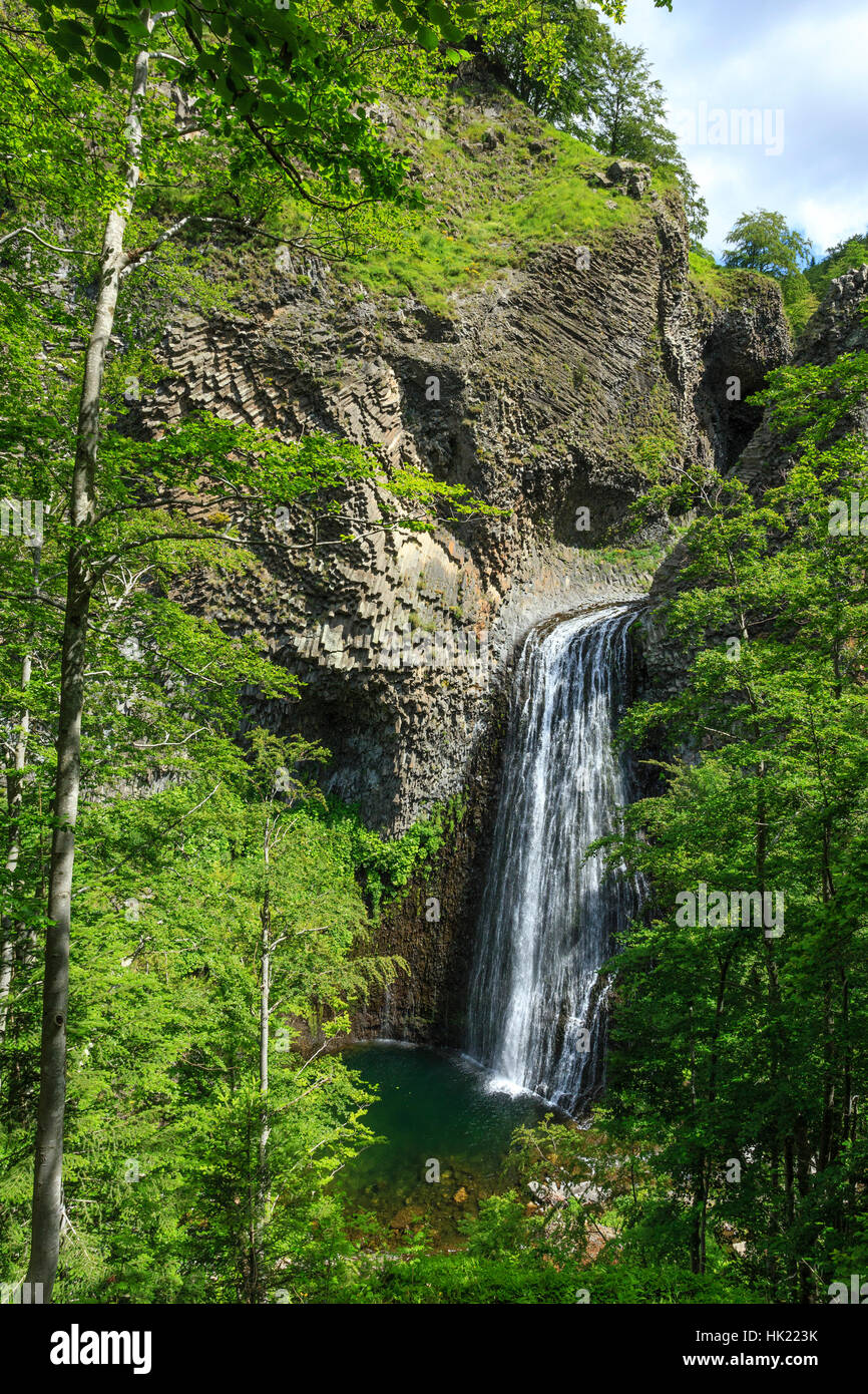 Ray Pic waterfall, Pereyres, Regional natural reserve of the Mounts of Ardeche, Ardeche, France - Stock Image