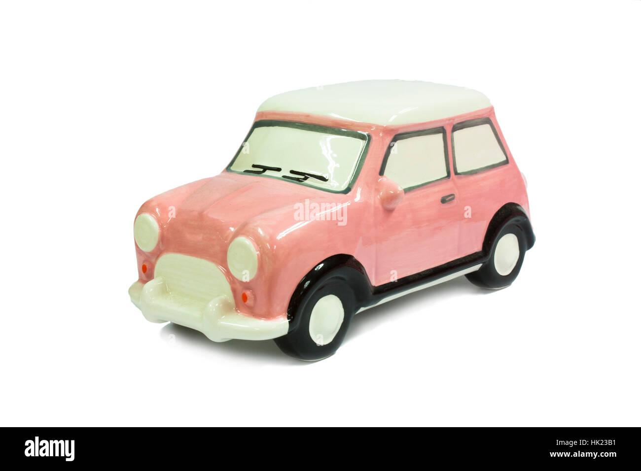 Cute Beautiful Pink Ceramic Car Stock Photo