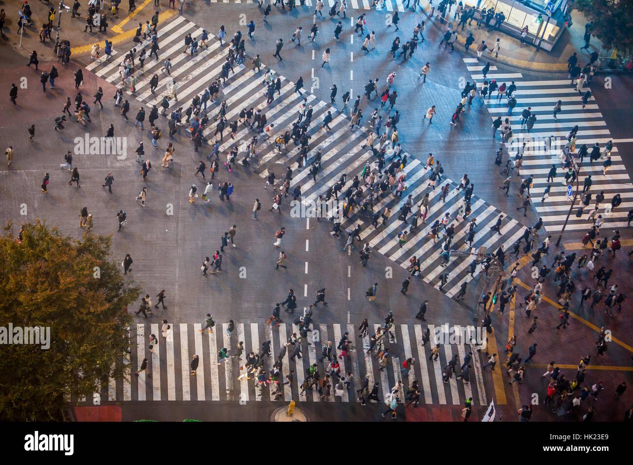 Townscape, Shibuya Scramble Kousaten crossing in Hachiko square, Tokyo, Japan - Stock Image
