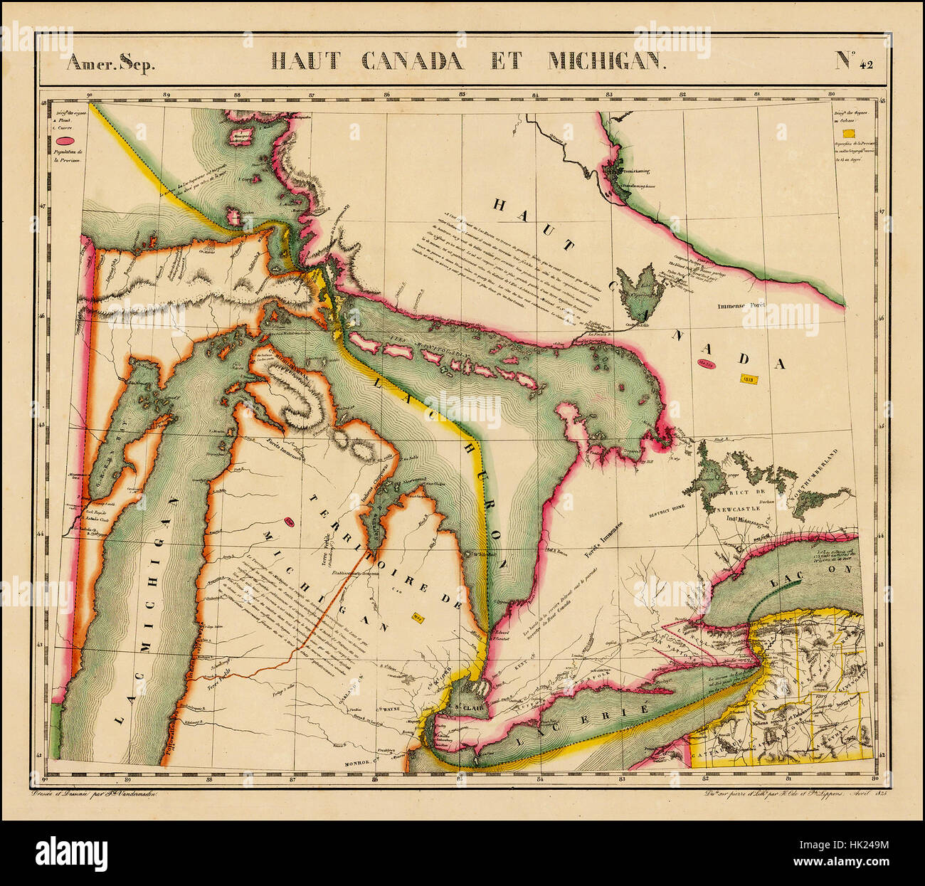 map of the great lakes 1825 stock image