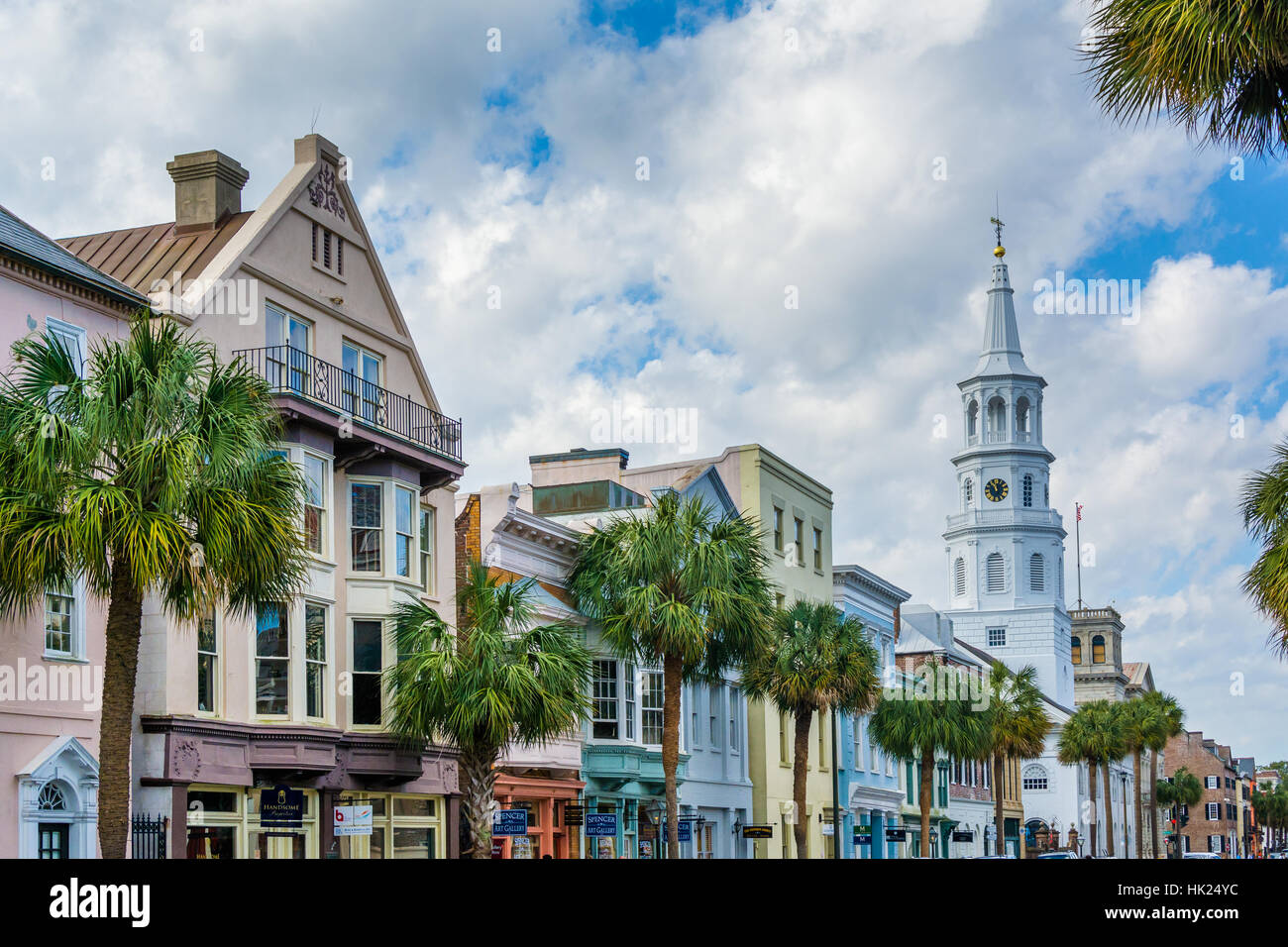 Buildings and palm trees along Broad Street, in Charleston, South Carolina. - Stock Image