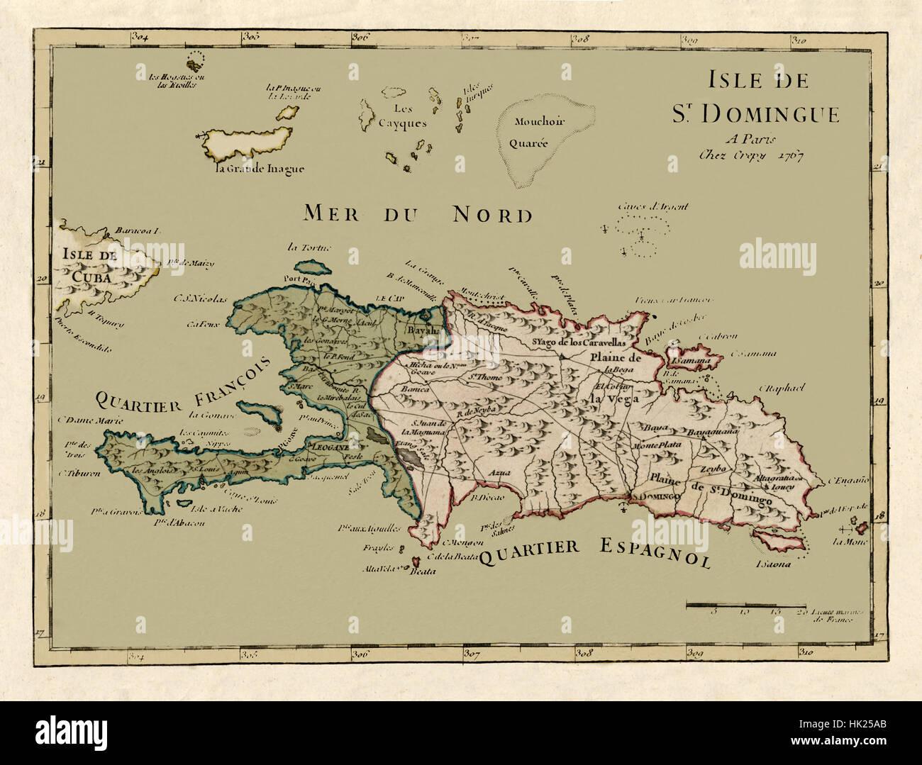 "18/"" x 24/"" 1767 Map of Isle de St Domingue Hispaniola"