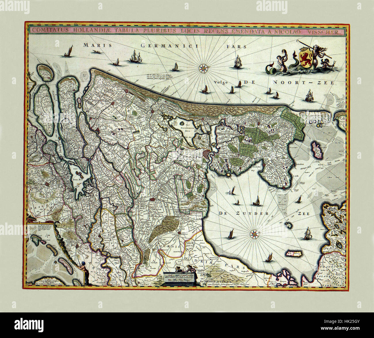 Map Of Holland 1682 - Stock Image