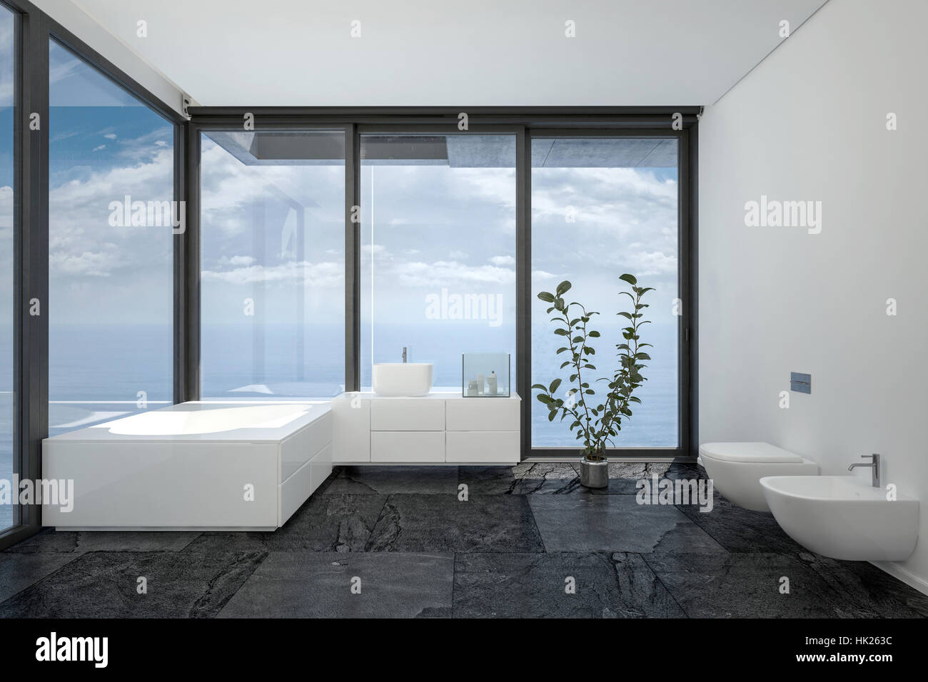 Bathroom of hotel room or penthouse in minimalist interior black and ...