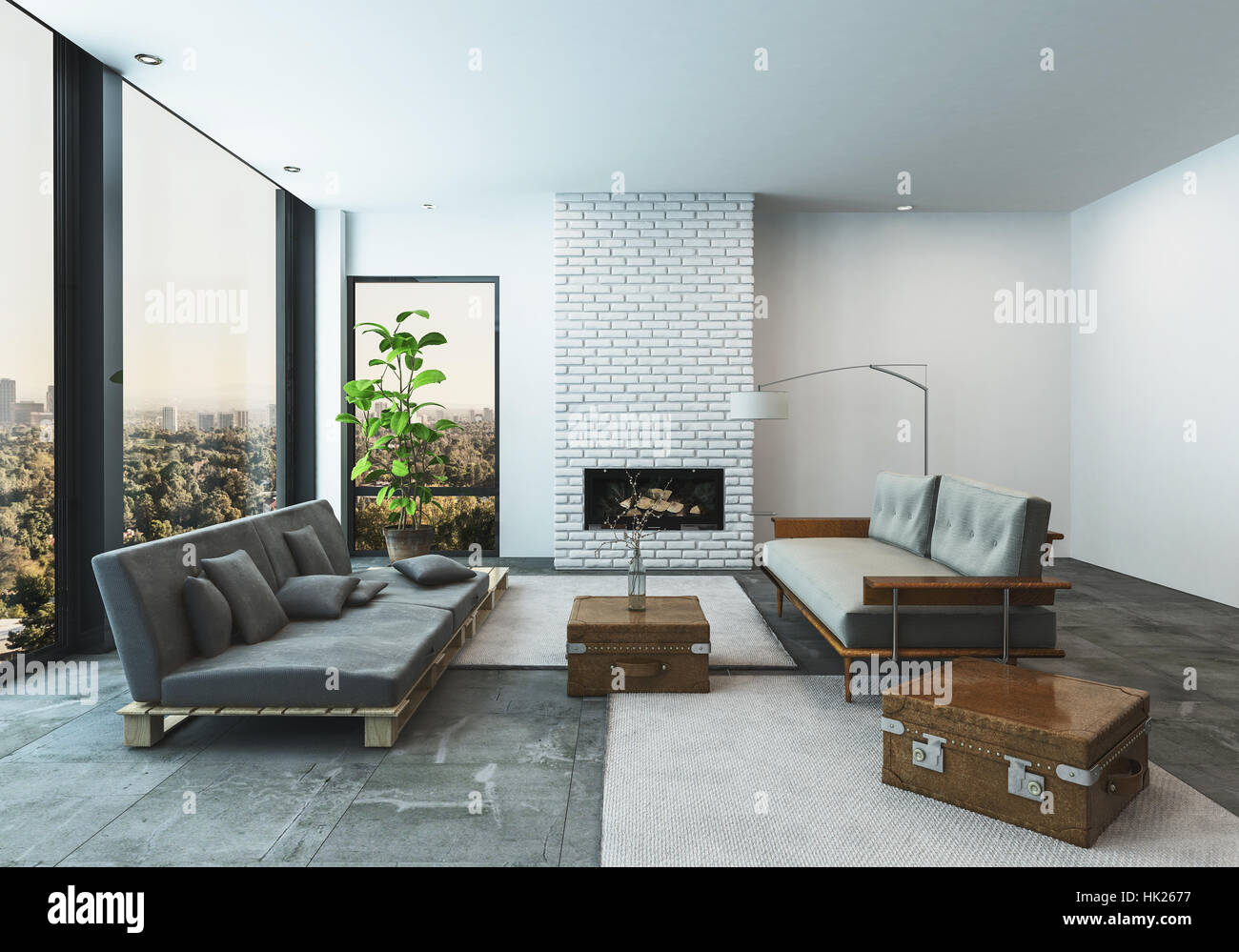 Stylish Modern Living Room In A Condo Or Penthouse Apartment With