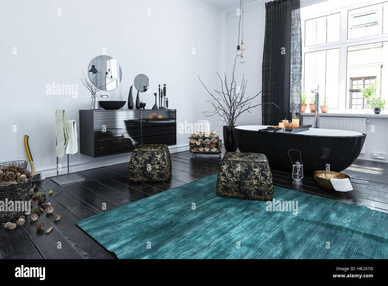 3d Rendering of Spacious Luxury Bathroom with Free Standing Bathtub ...