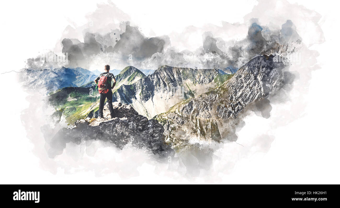Painting of a fit young man backpacking in nature standing on an alpine summit admiring the mountain view, with Stock Photo