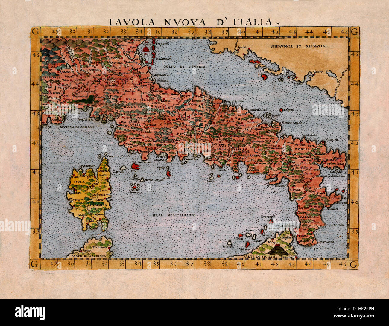 Map Of Italy 1561 Stock Photo