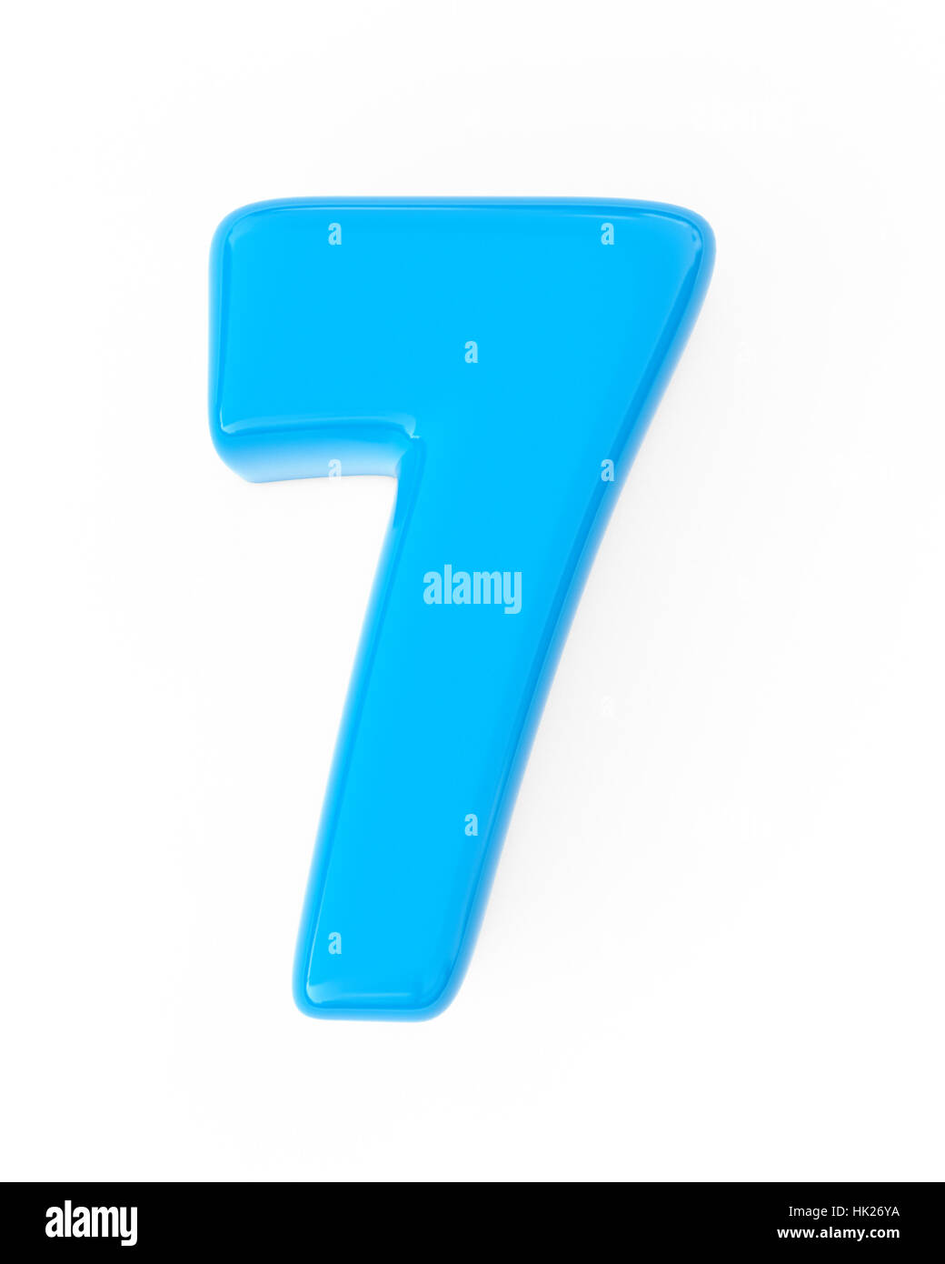 3d blue funny bubble number 7 seven isolated white background Stock