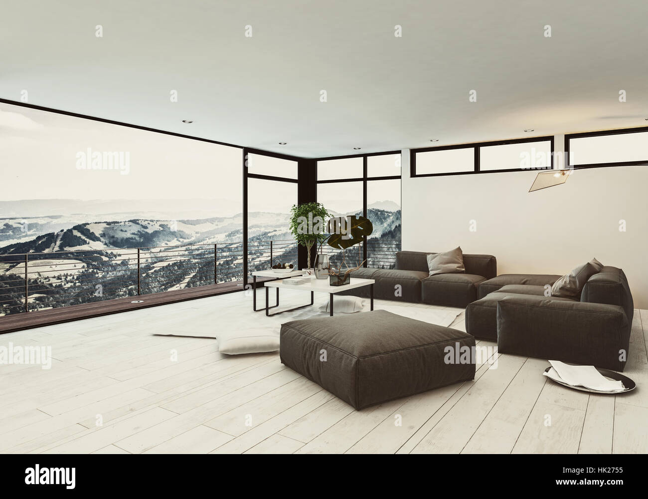 View of spacious room in hotel or penthouse with minimalist interior ...
