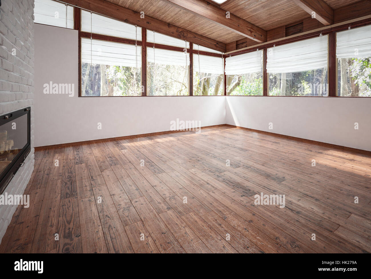 Empty living-room with fireplace, wooden floor and ceiling with beams and huge panoramic windows. 3d rendering. Stock Photo