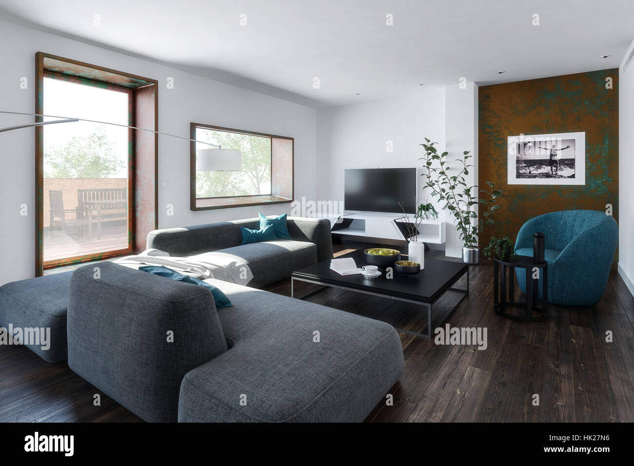 living room modular furniture. 3D Render Scene Of Large Living Room With Square Table And Modular Sofa Chair Furniture