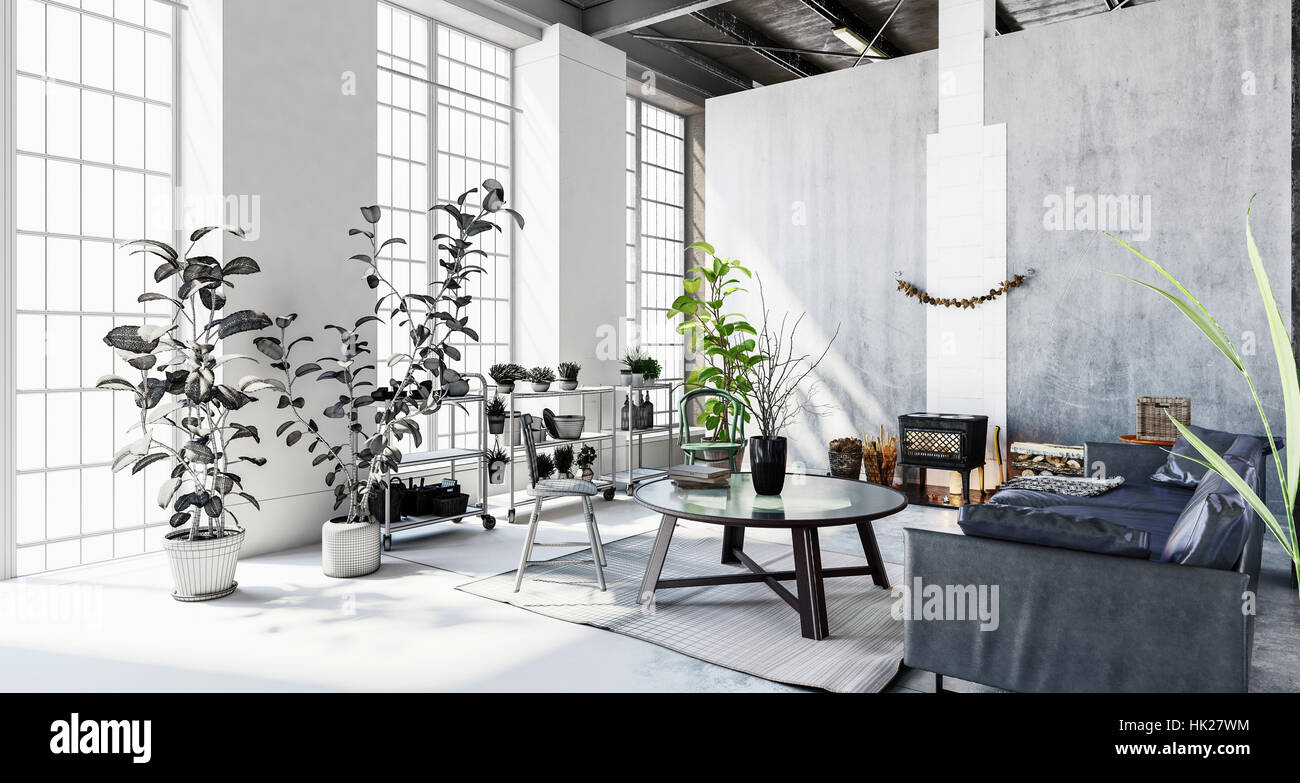 Interior Of Stylish Modern Penthouse Apartment With Large Windows Stock Photo Alamy