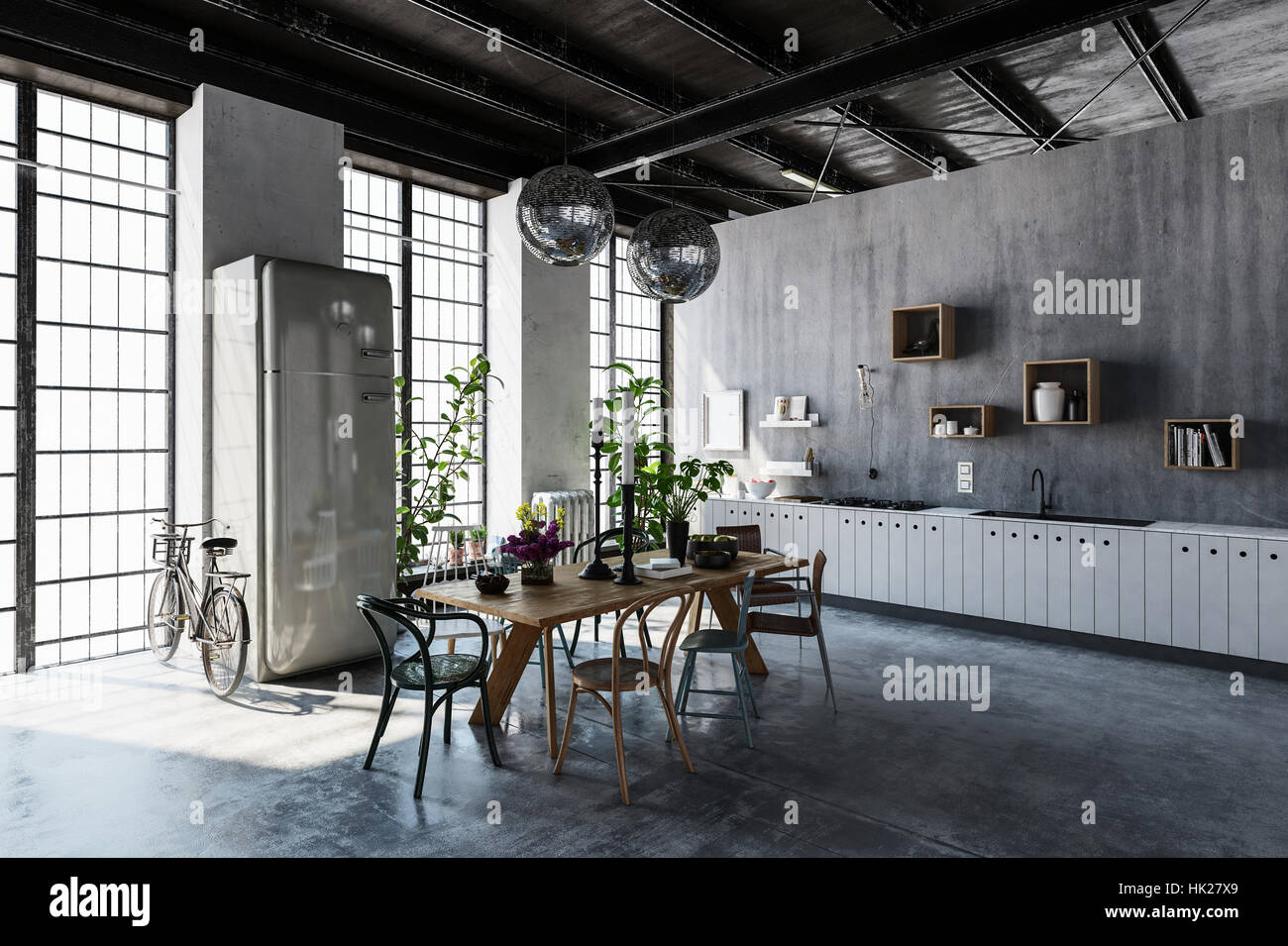 Interior of spacious modern apartment with dining table, chairs and bicycle leaning by tall windows Stock Photo