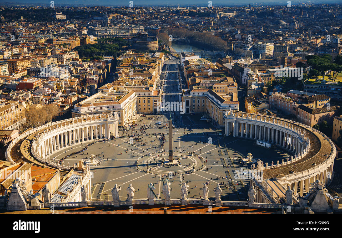 View of Rome from the Dome of St. Peter's Basilica, Vatican, Rome, Italy - Stock Image