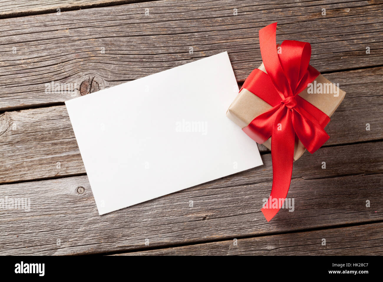 Valentines Day Greeting Card And Gift Box On Wooden Table Top View