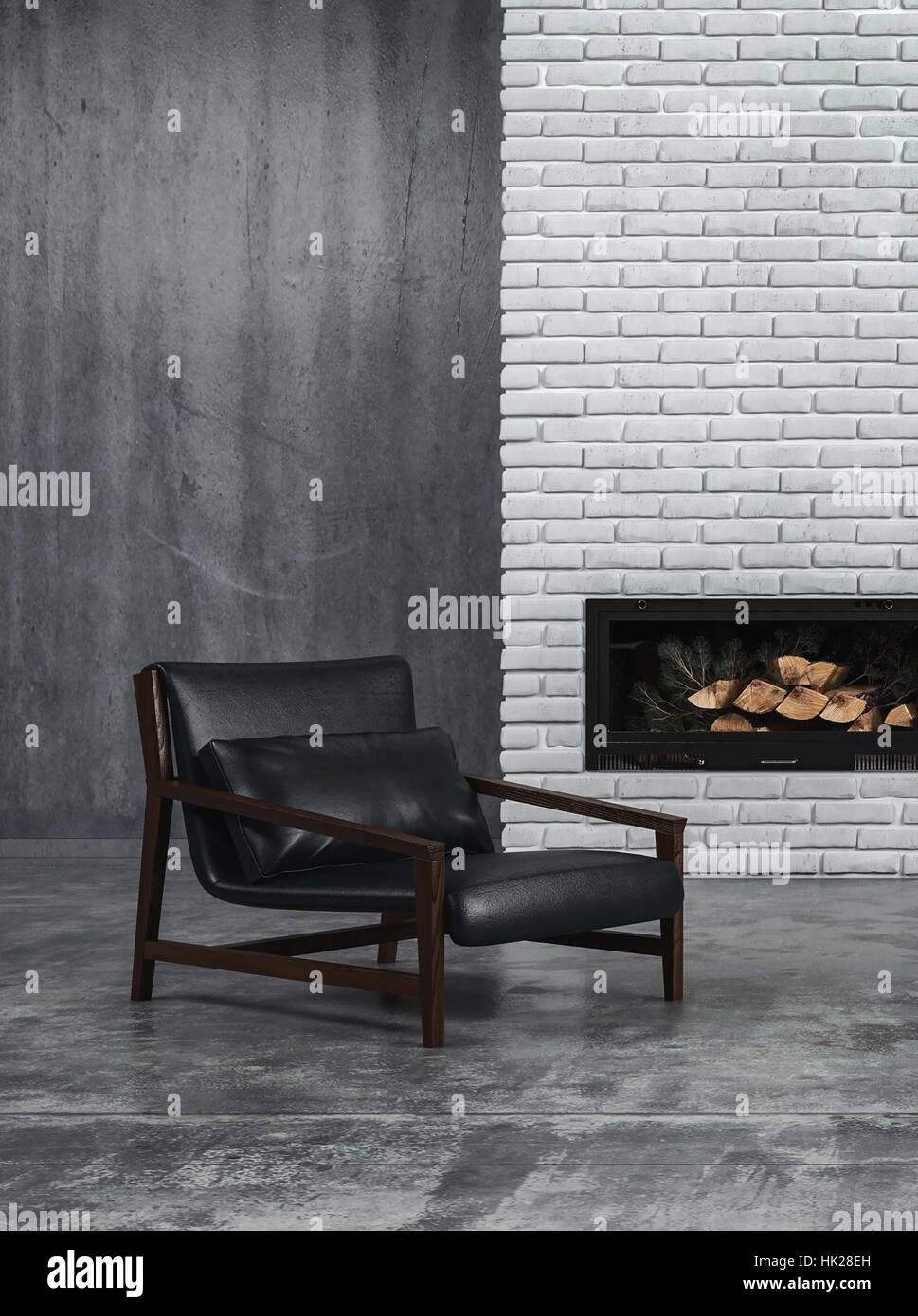 Sombre grey toned living room interior with black leather recliner chair and an unlit wood fire in the fireplace - Stock Image
