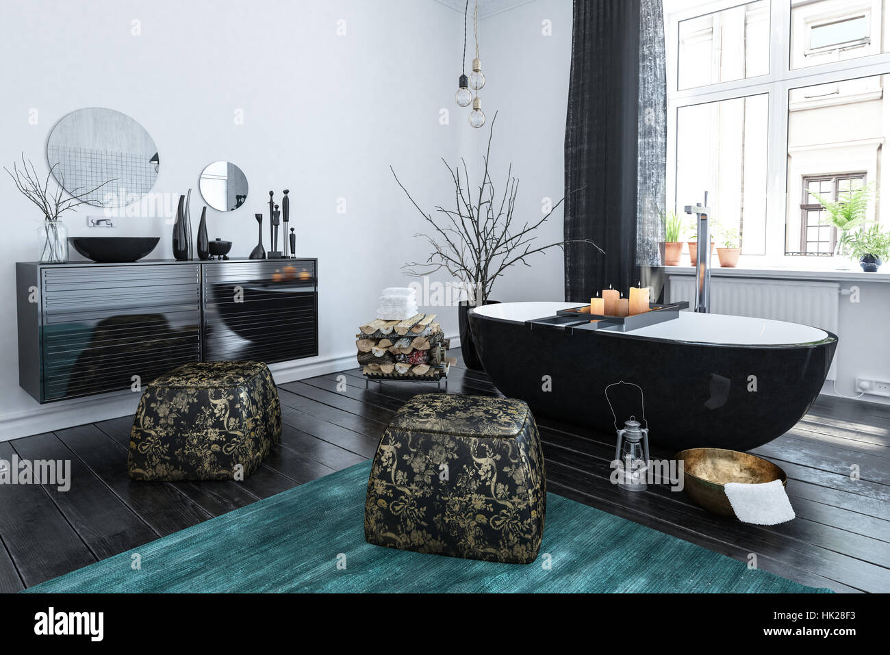 Stylish Oriental Style Bathroom With Black Lacquer Decor