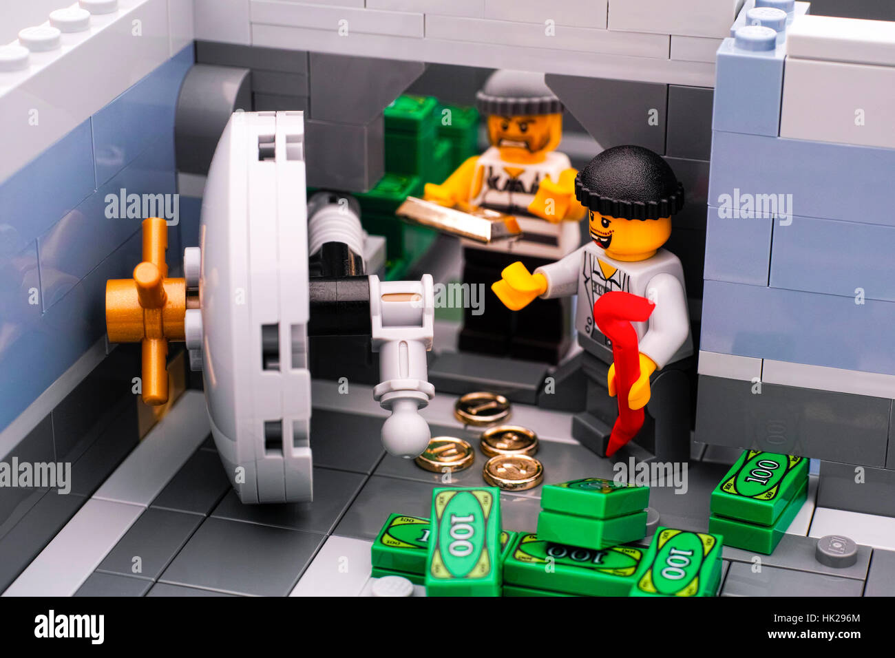Tambov, Russian Federation - January 08, 2017 Lego bank burglary. Two robbers broke door of bank vault and take - Stock Image