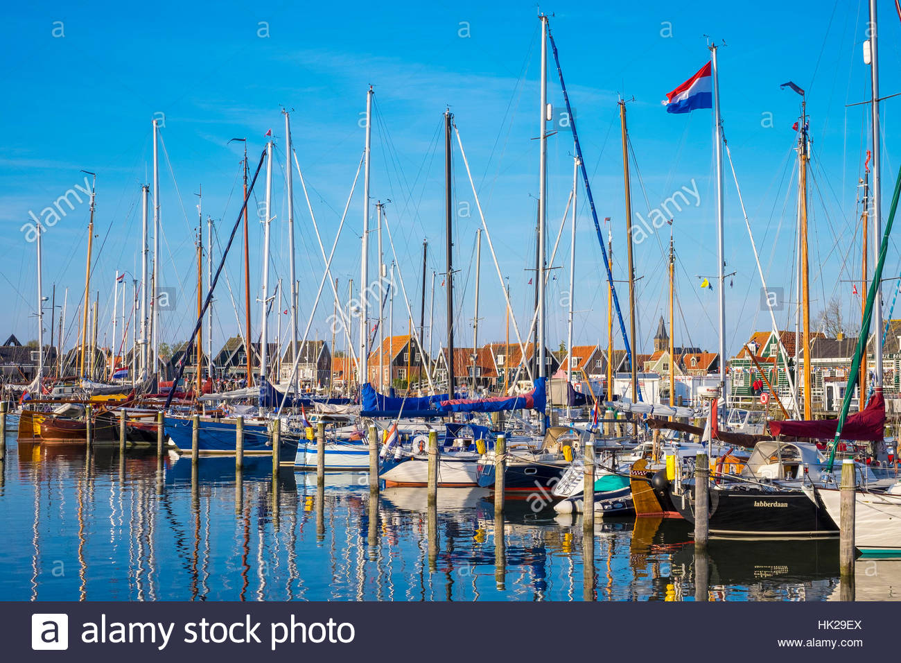 Netherlands, North Holland, Marken. Harbor in Havenbuurt. - Stock Image