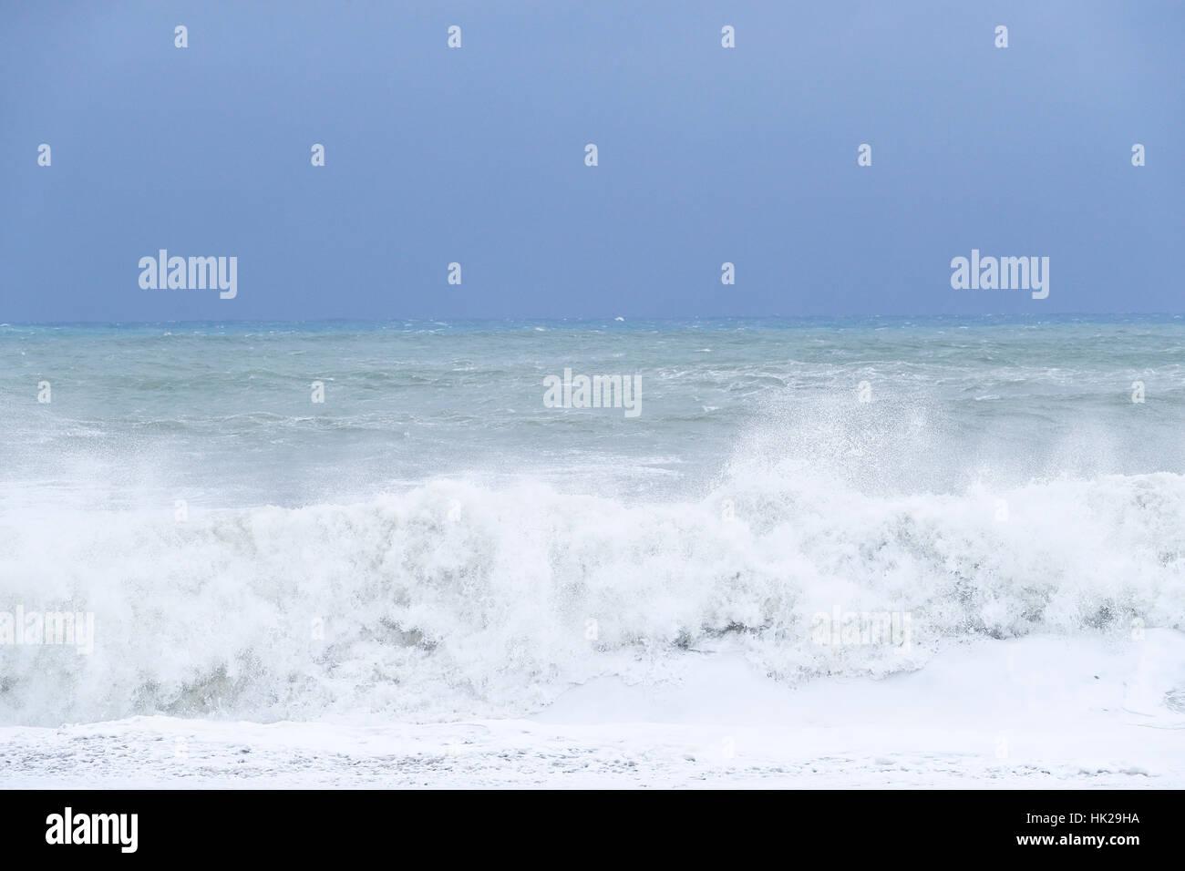 Ocean waves crashing Stock Photo