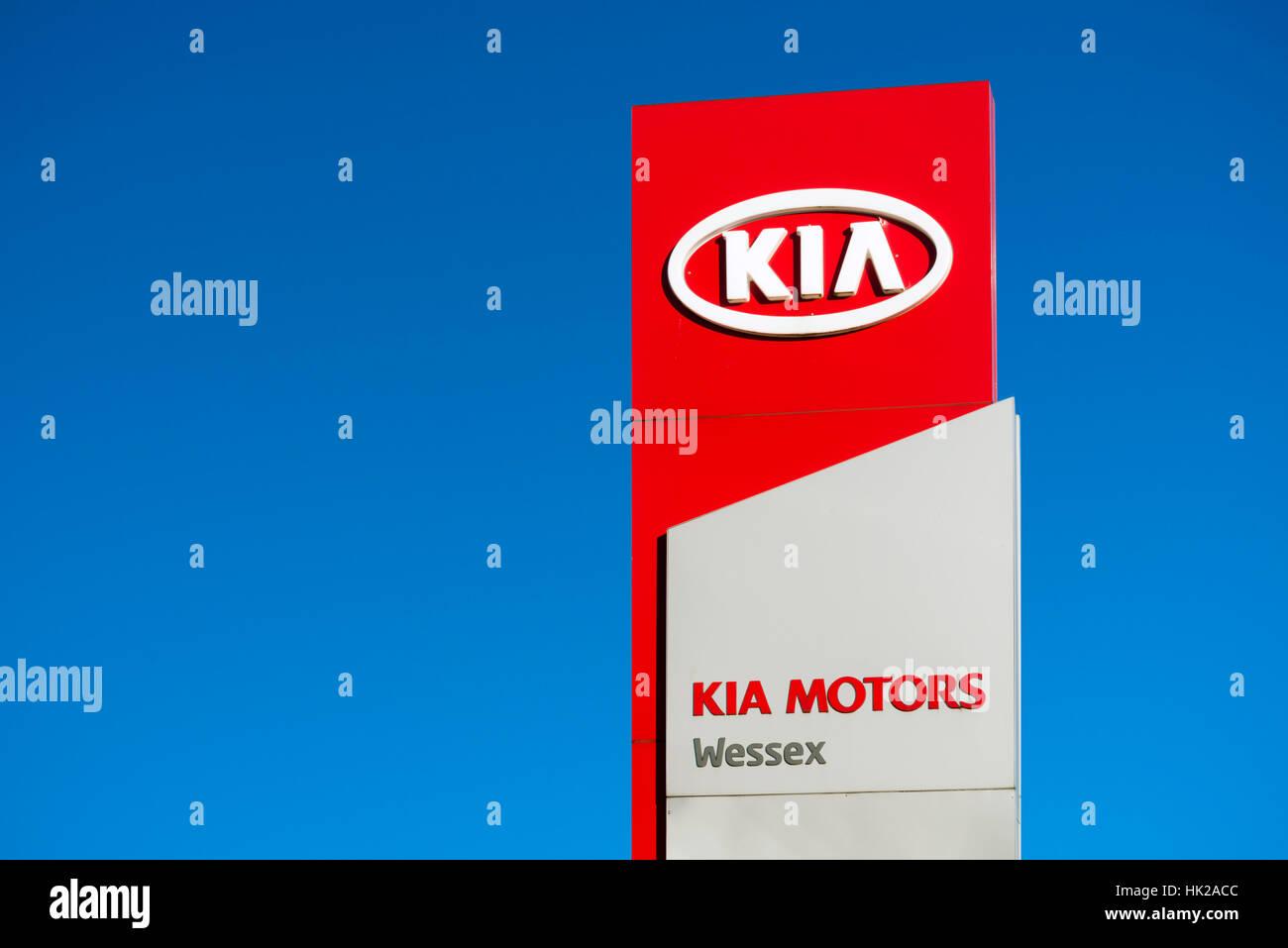Kia motors sign, UK. - Stock Image