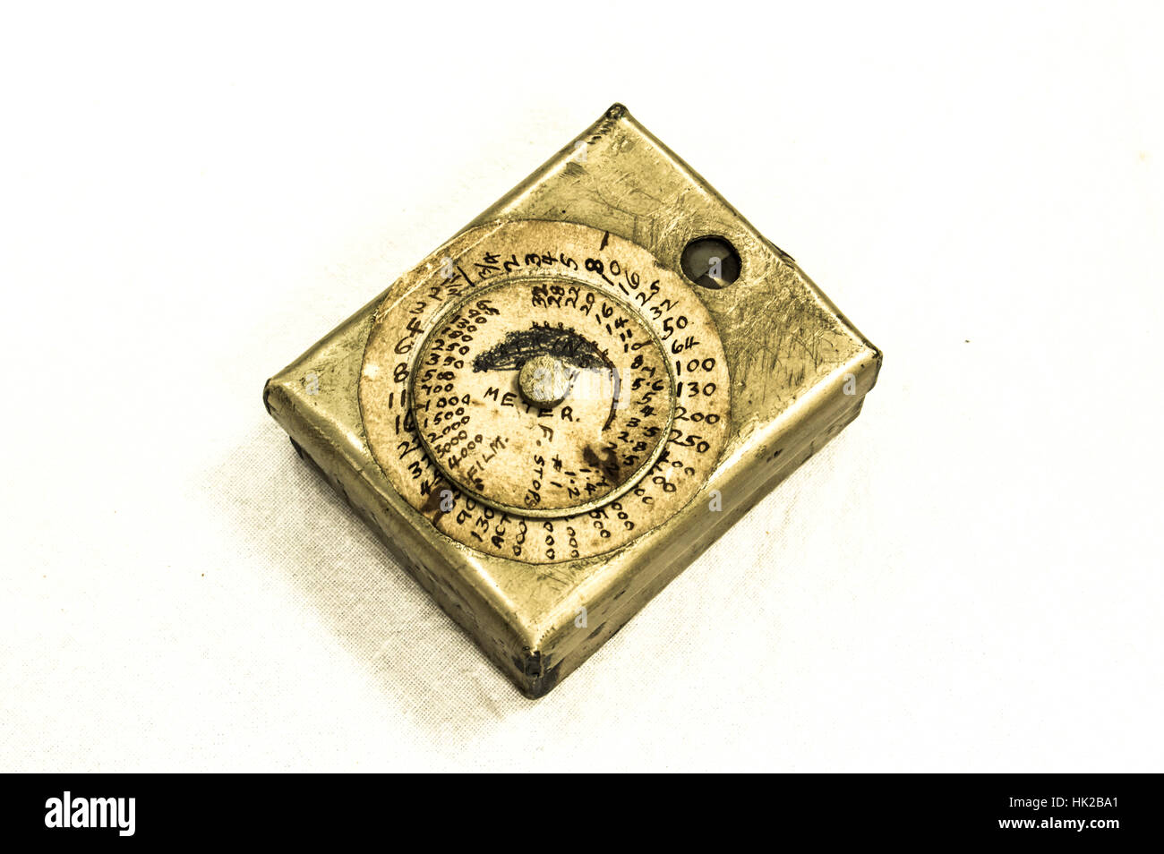 A prototype Watkins Bee Exposure Meter, circa late 1880's. Handmade from a single piece of metal by the Hereford - Stock Image
