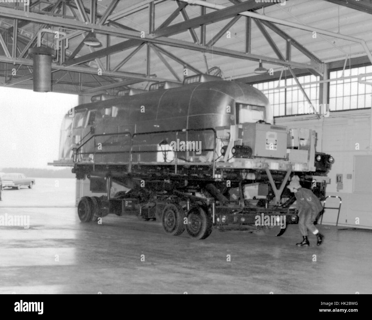Lunar Receiving Station as it was being unloaded in 1976 at Dobbins Air Force Base, GA, 1976. The Lunar Receiving - Stock Image