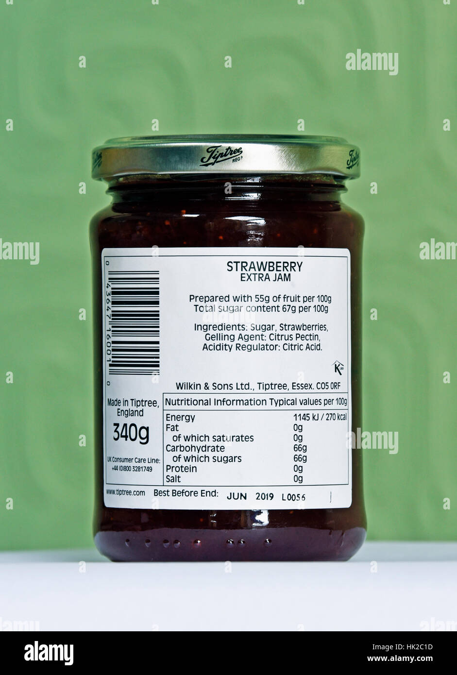 Ingredients and Nutritional Information. Jar of Wilkin & Sons Ltd., Tiptree Strawberry Conserve. - Stock Image
