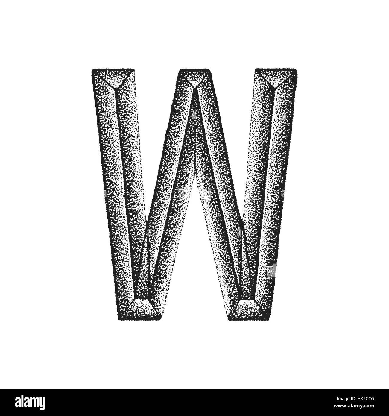 Vector Black Monochrome Vintage Ink Hand Drawn Dot Work Retro Tattoo Style Engraving Volumetric Letter W Isolated White Background