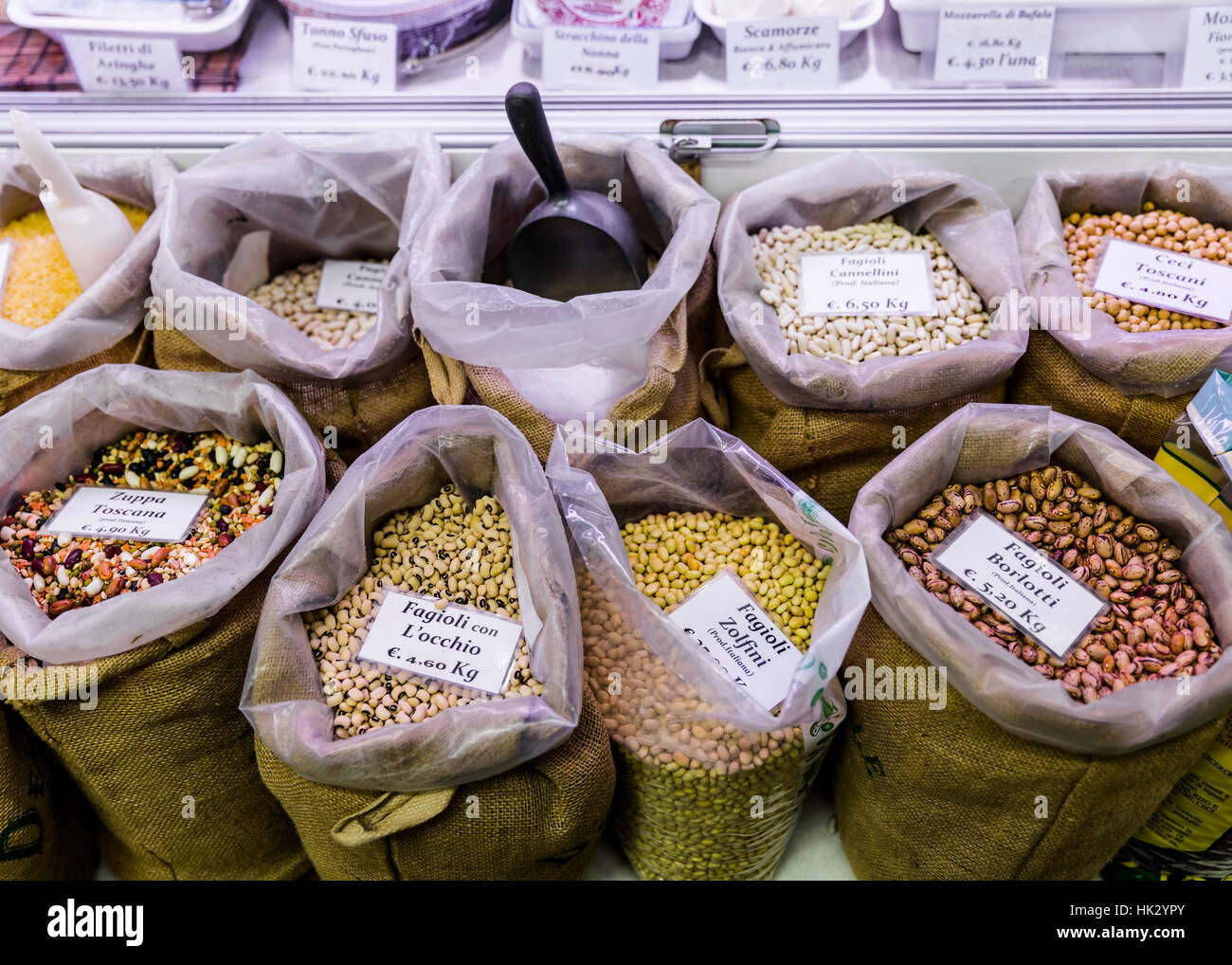 Sacks of beans for sale in Mercato Centrale, Florence, Italy. - Stock Image