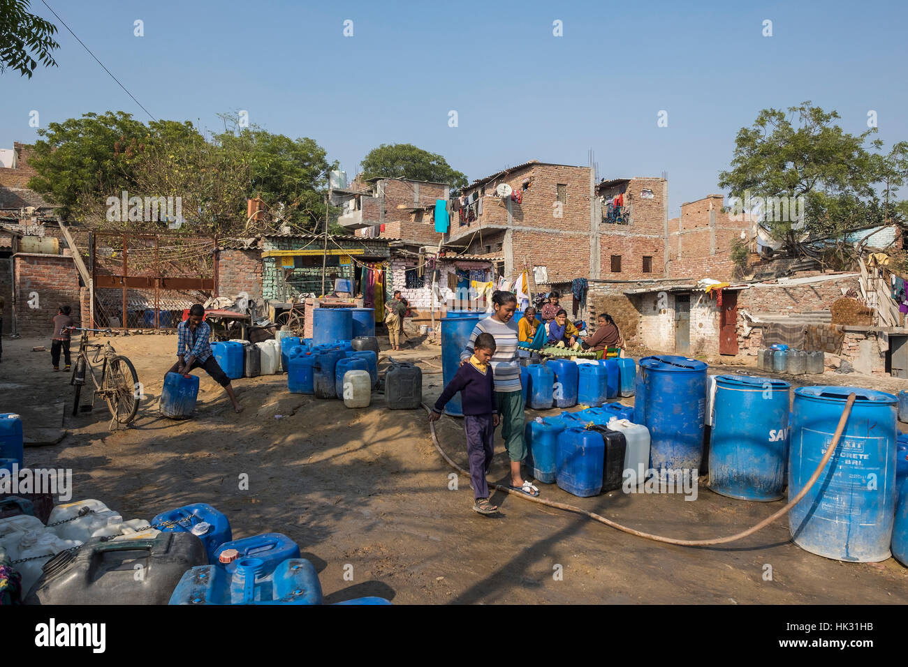 India, New Delhi, Baljeer Nagar Slum - Stock Image