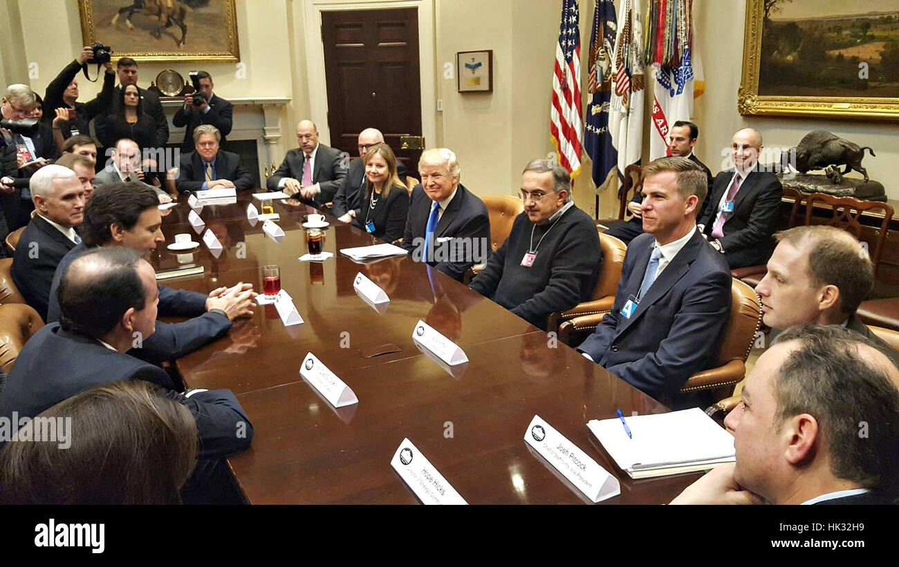 U S President Donald Trump meets with business leaders in the Stock