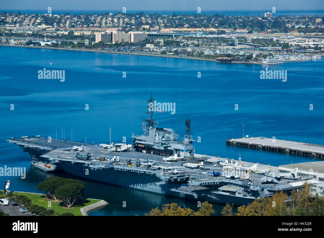 The US Navy aircraft carrier Midway museum on the downtown San Diego, CA waterfront. Stock Photo