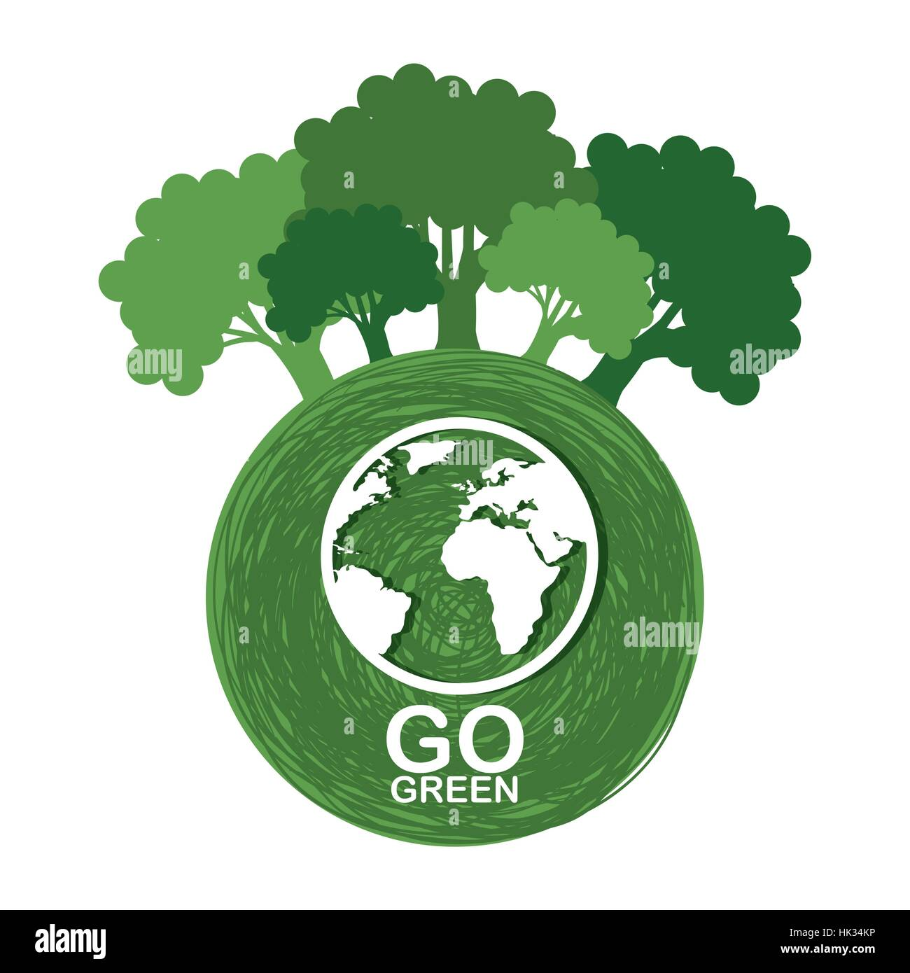 Go Green Ecology Poster Vector Illustration Design Stock Vector Art