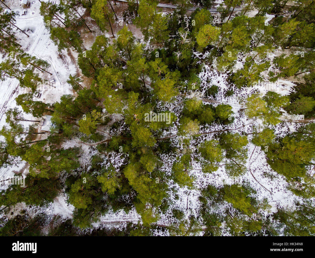 Aerial View Of Frozen Forest Lake In Winter Drone Photography Abstract Texture
