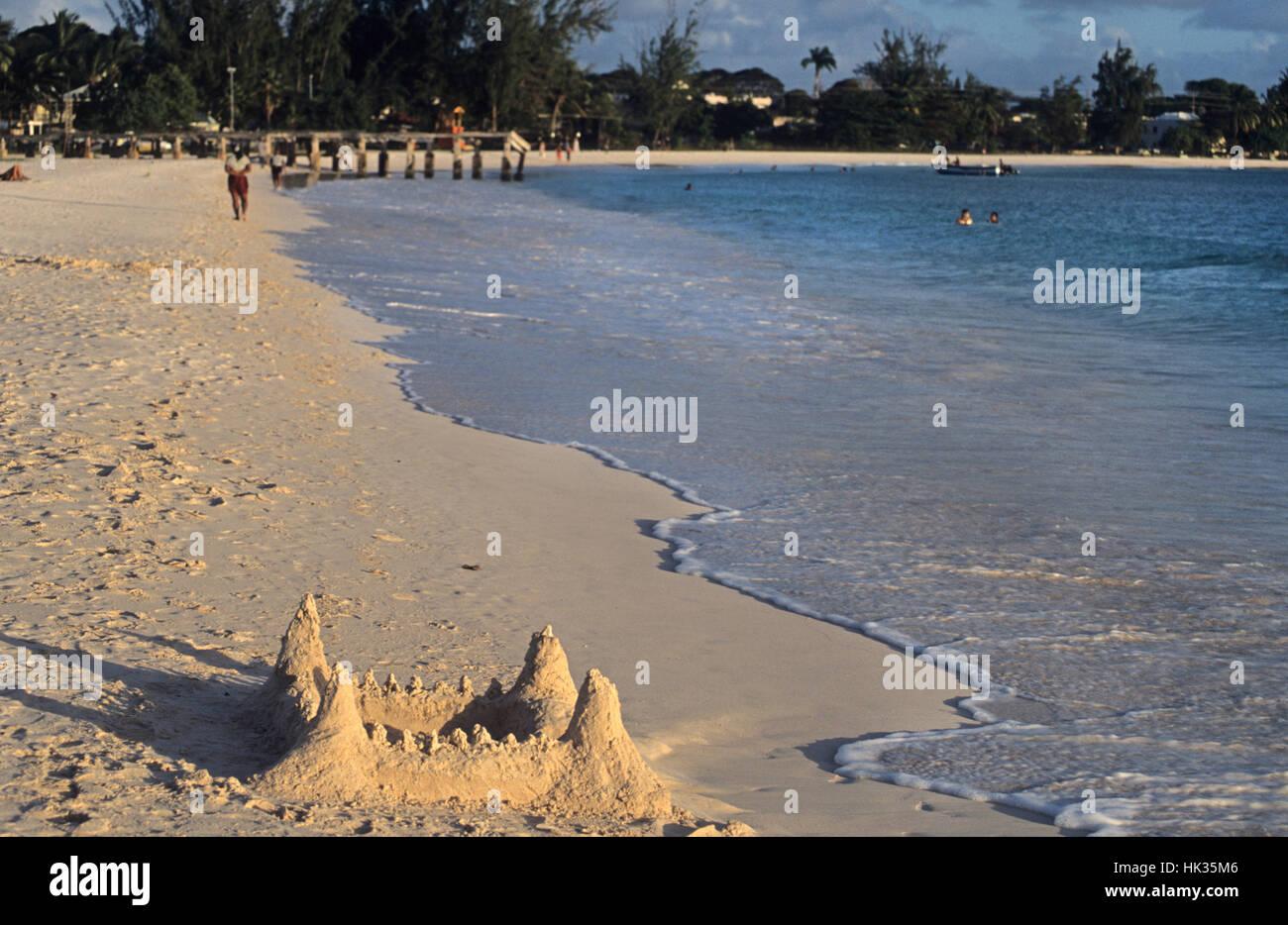 Sand Castle, Boatyard beach, Barbados, Caribbean - Stock Image