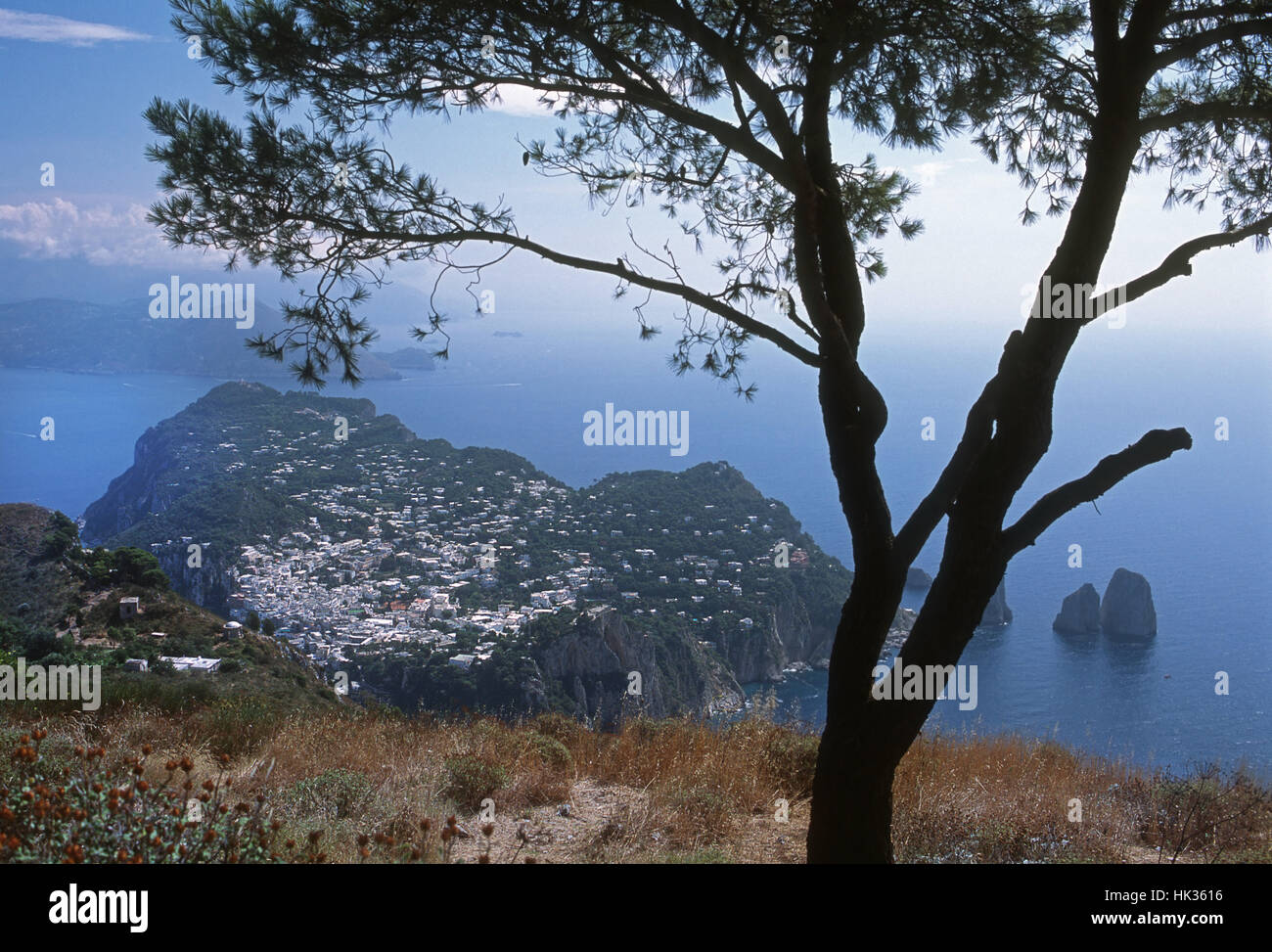 Mountain village and surrounding sea and mainland seen from high viewpoint, Capri island, Italy - Stock Image