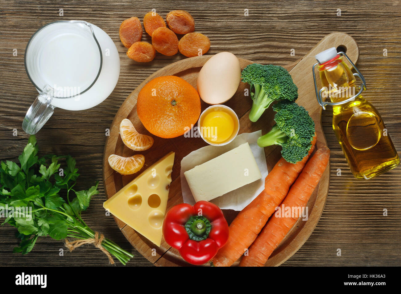 Vitamin A in food. - Stock Image